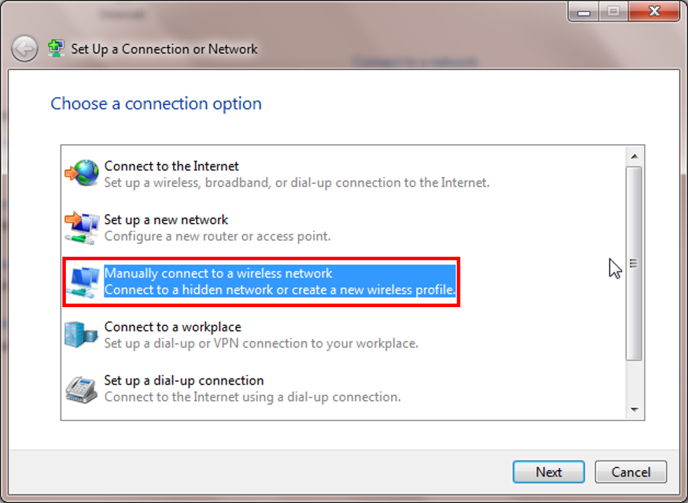 Manually connect to wireless network